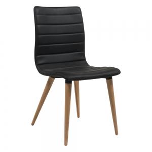 Chaise scandinave noire avec pieds bois naturel - Doris