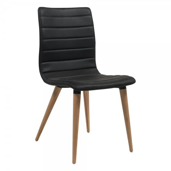 Chaise scandinave noire avec pieds bois naturel - Doris - 1