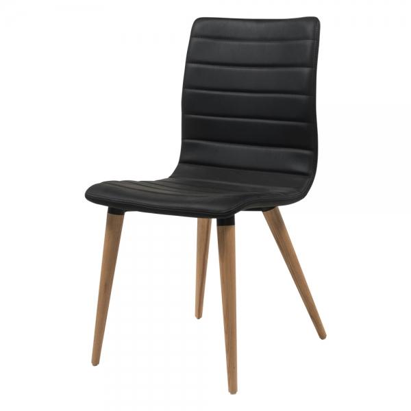Chaise noire avec pieds bois naturel - Doris - 2