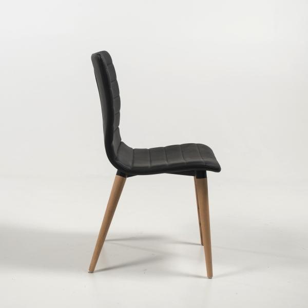 Chaise scandinave noire avec pieds bois naturel - Doris - 3