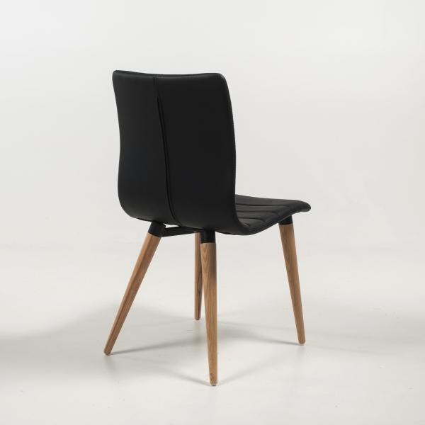 Chaise nordique noire avec pieds bois naturel - Doris - 4