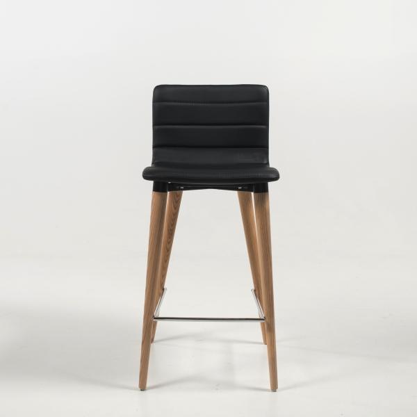 Tabouret hauteur 65 cm scandinave noir et pieds bois - Doris - 3