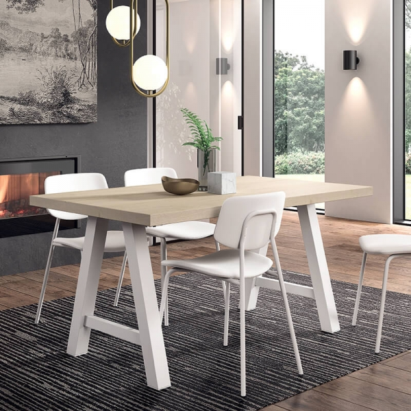 Chaise de cuisine vintage rembourrée blanche - Lago - 7