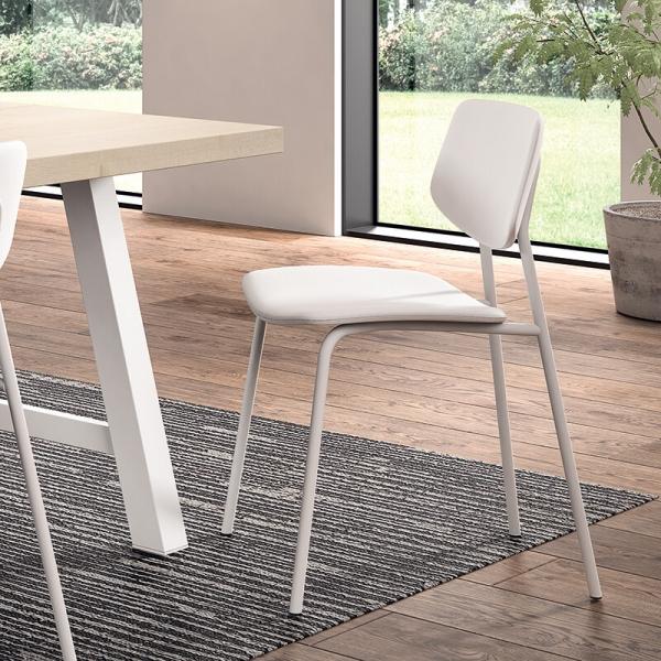 Chaise de cuisine blanche vintage rembourrée - Lago - 8