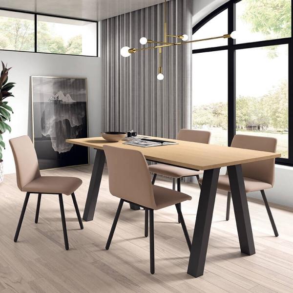 Table moderne rectangulaire en stratifié avec pieds obliques - Veneto - 1
