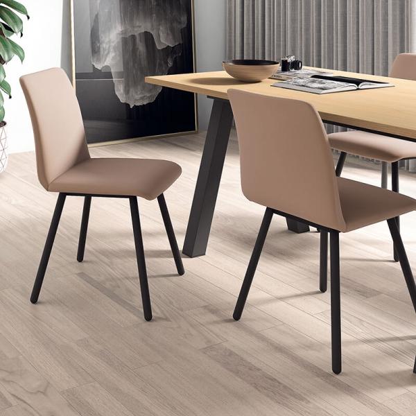 Chaise de salle à manger moderne en métal et synthétique - Pisa