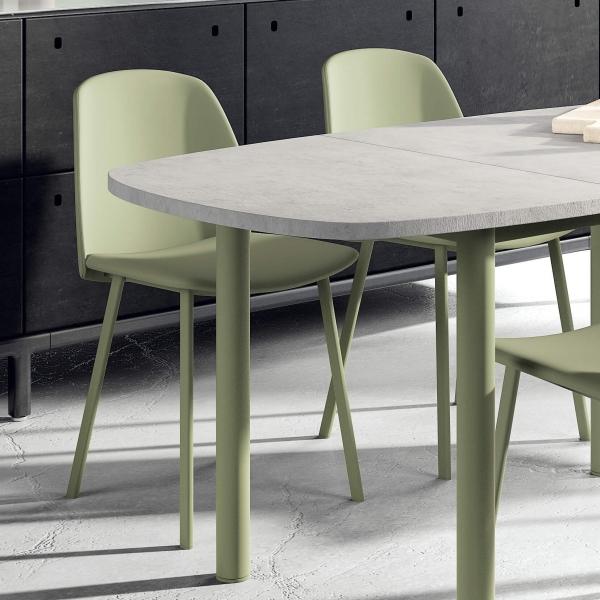 Table de cuisine bords arrondis en stratifié avec allonge - Lustra - 2