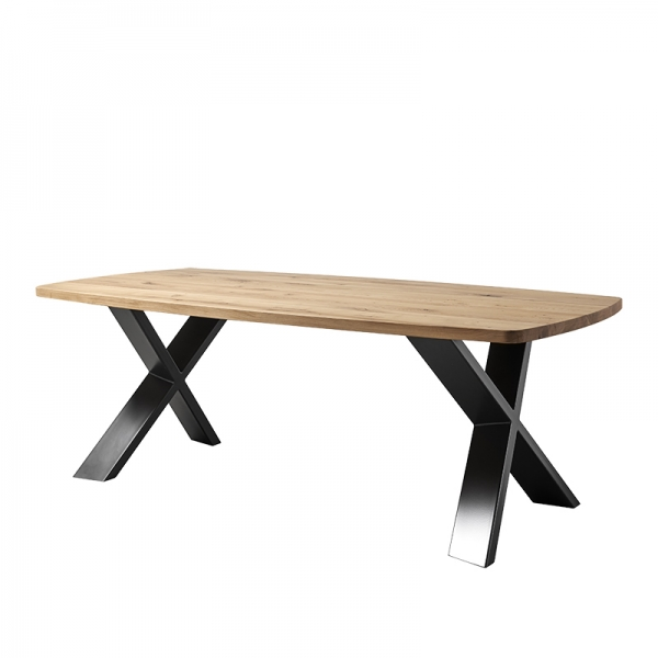 Table industrielle forme tonneau en bois massif pieds croisés - Carte