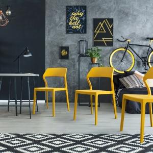 Chaise empilable design en polypropylène jaune - Snow