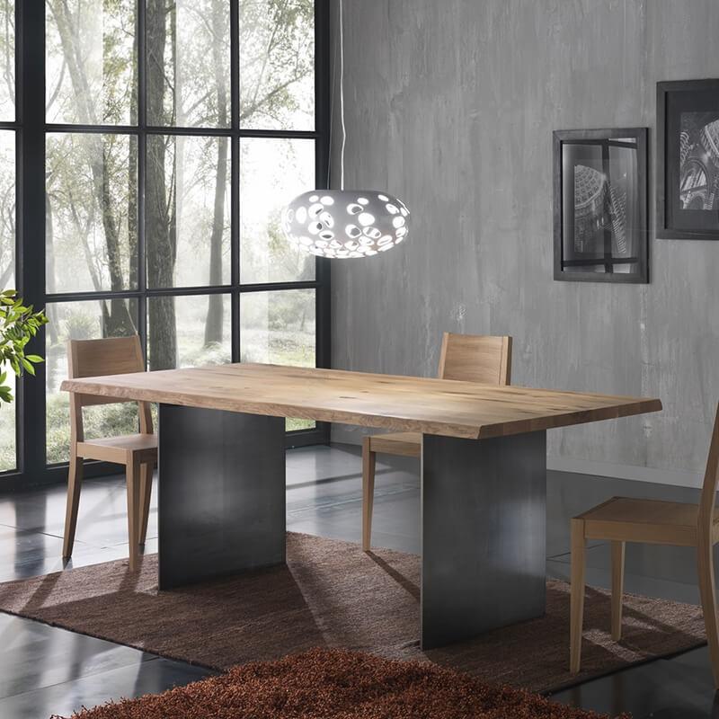 Table Bois Metal Design: Table Design Industriel En Bois Massif Avec Pieds En Métal
