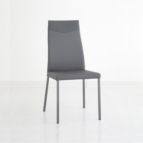 chaise matelassée contemporaine grise de salle à manger - 1