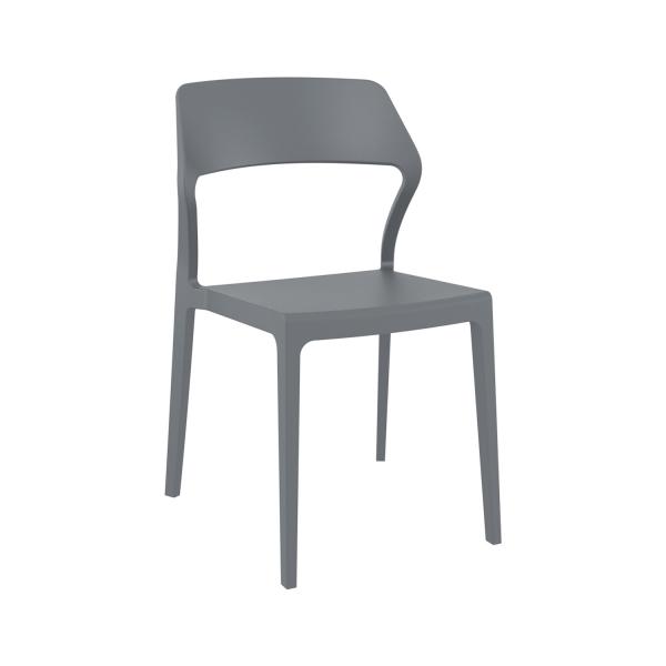 Chaise d'extérieur empilable design en polypropylène gris foncé - Snow - 12