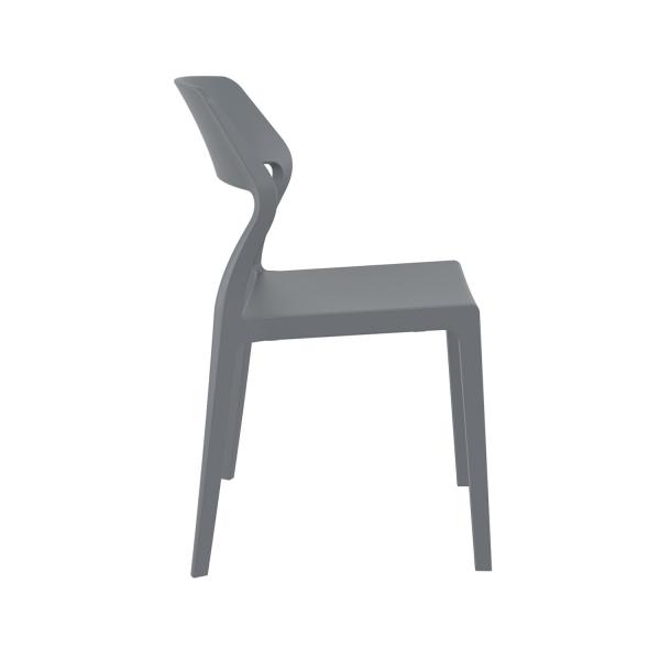 Chaise de jardin empilable design en plastique gris foncé - Snow - 13