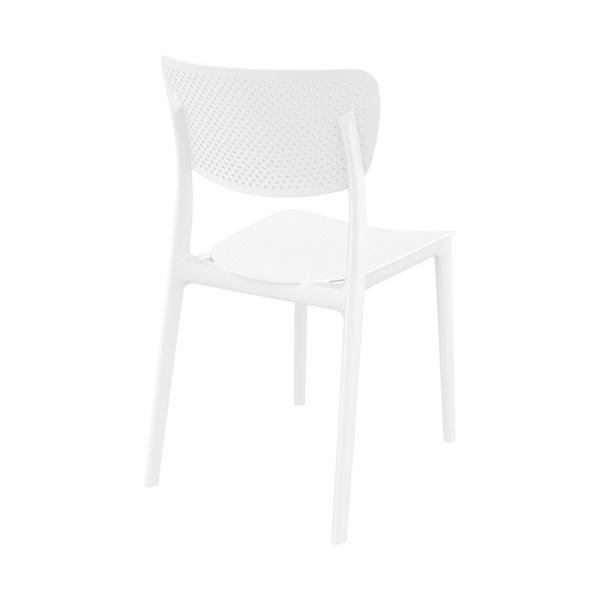 Chaise d'extérieur en plastique blanc micro perforé - Lucy - 6