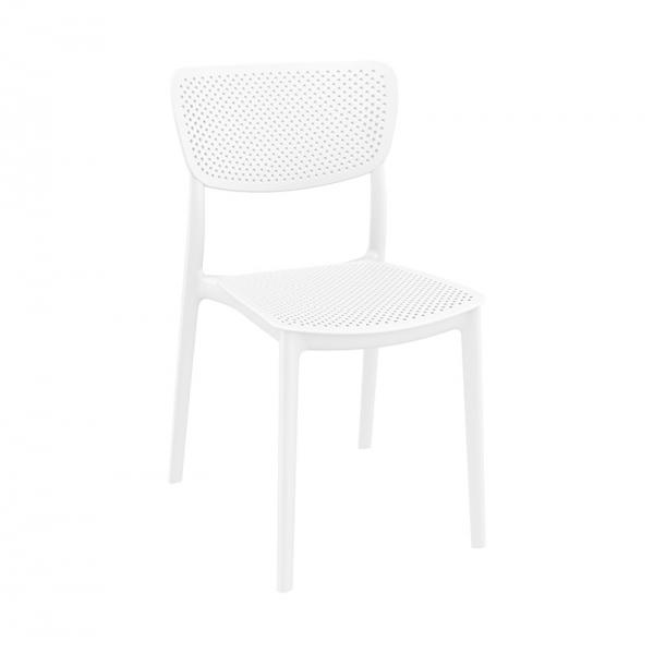 Chaise de terrasse en plastique blanc micro perforé - Lucy - 3