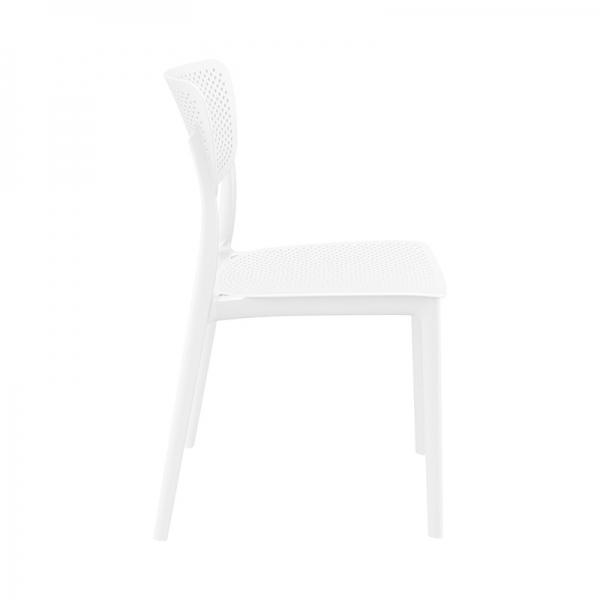 Chaise de jardin en plastique ajouré blanc micro perforé - Lucy - 8