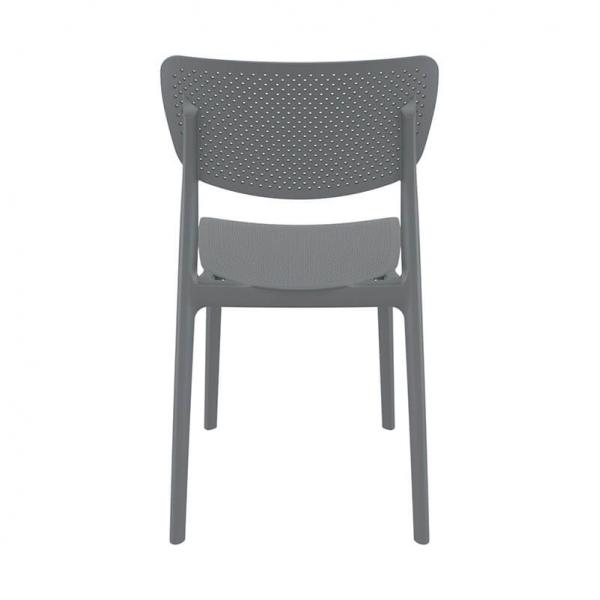 Chaise en plastique micro perforé gris pour jardin - Lucy - 11