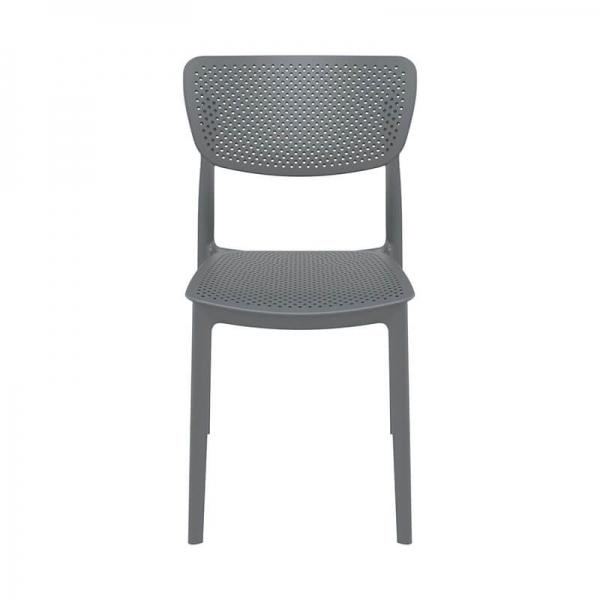 Chaise ajourée en polypropylène gris - Lucy - 13