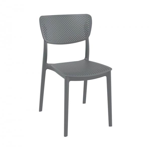 Chaise de jardin ajourée en polypropylène micro perforé gris - Lucy - 9