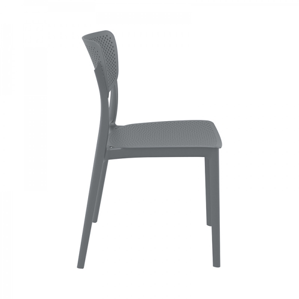 Chaise de jardin en plastique gris empilable - Lucy - 14