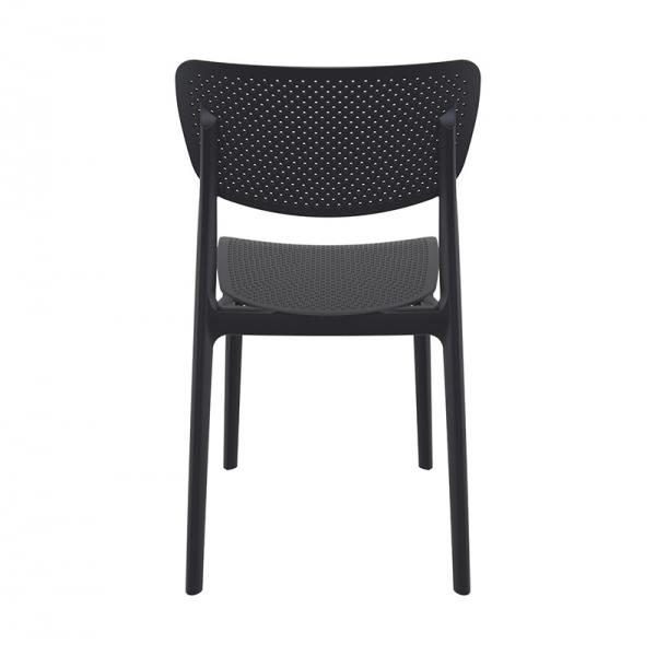 Chaise d'extérieur en plastique noir micro perforé empilable - Lucy - 17