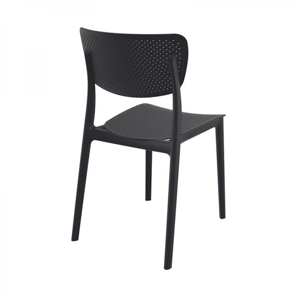 Chaise de terrasse empilable micro perforée noire - Lucy - 18