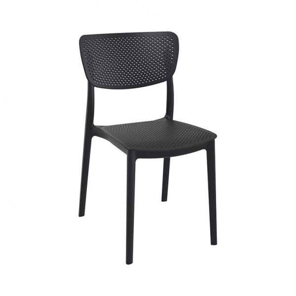 Chaise de terrasse en polypropylène noir empilable - Lucy - 15