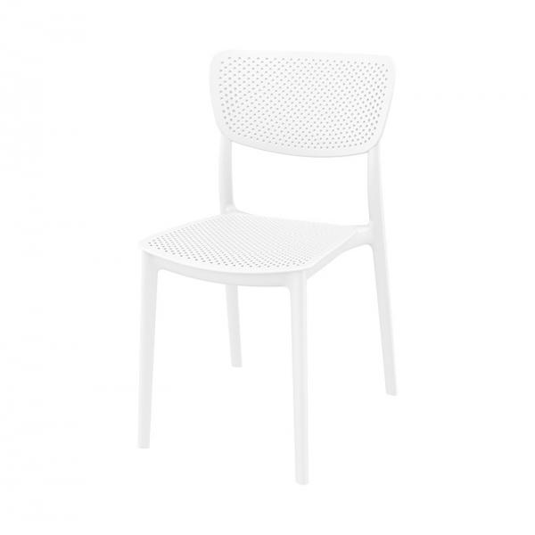 Chaise empilable micro perforée en polypropylène blanc - Lucy - 5