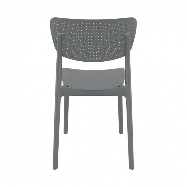 Chaise micro perforée ajourée en polypropylène gris - Lucy - 12
