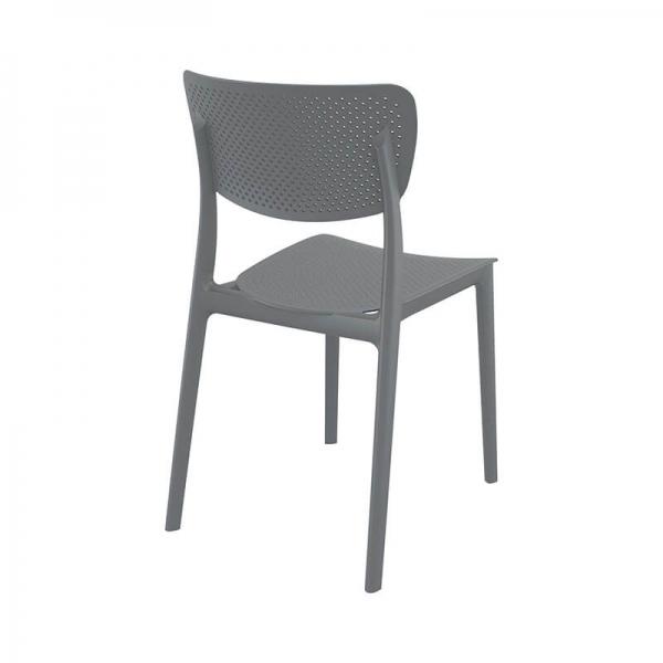 Chaise en polypropylène empilable grise micro perforée - Lucy - 13
