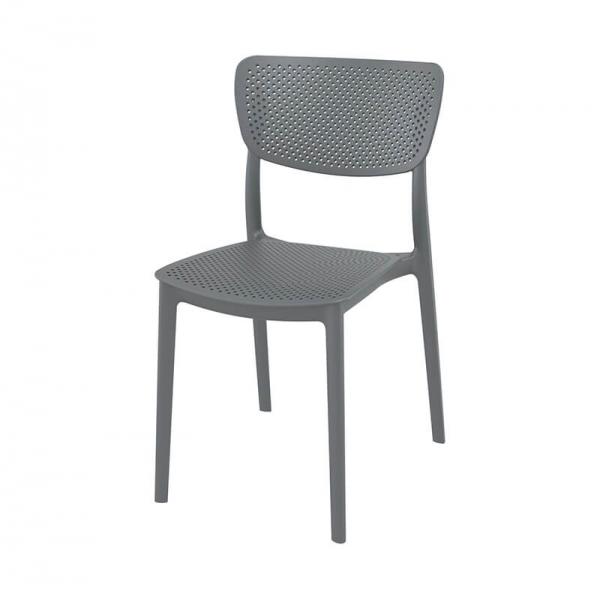 Chaise moderne empilable micro perforée en polypropylène gris - Lucy - 11