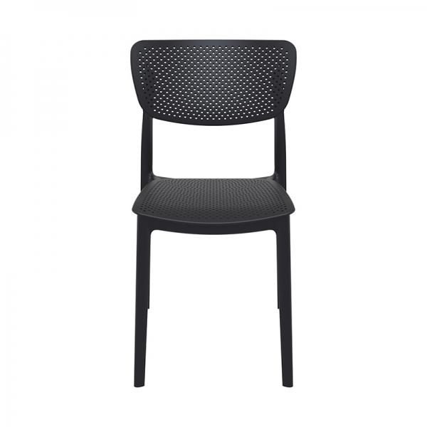 Chaise noire de salle à manger empilable micro perforée - Lucy - 20