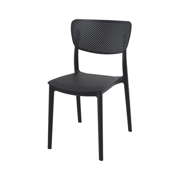 Chaise micro perforée moderne de cuisine en polypropylène noir - Lucy - 17