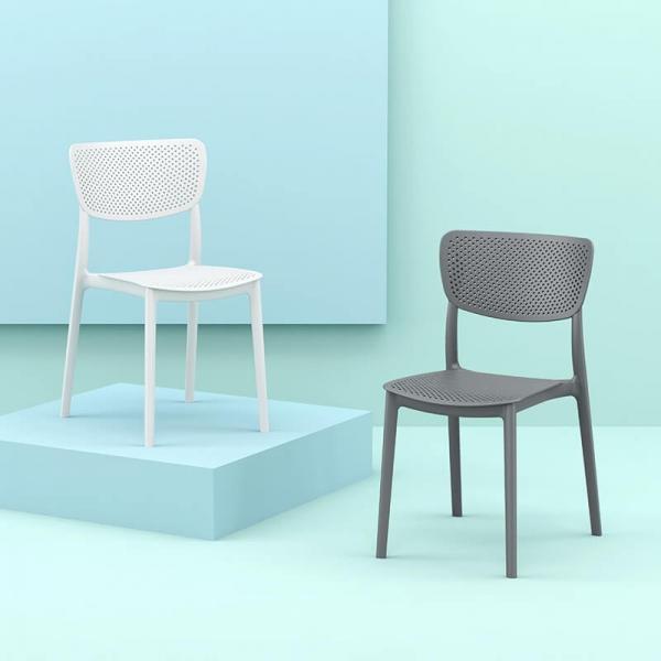 Chaise en plastique moderne micro perforée - Lucy - 1
