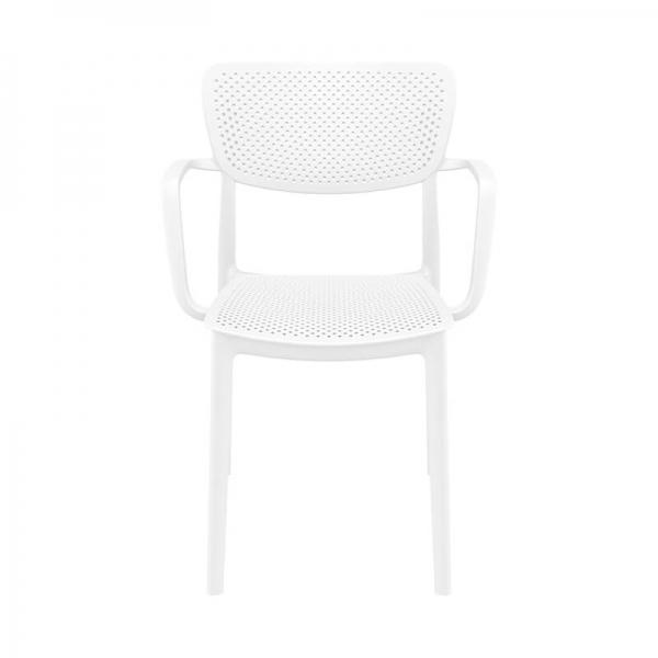 Chaise d'extérieur avec accoudoirs blanche micro perforée - Loft - 5