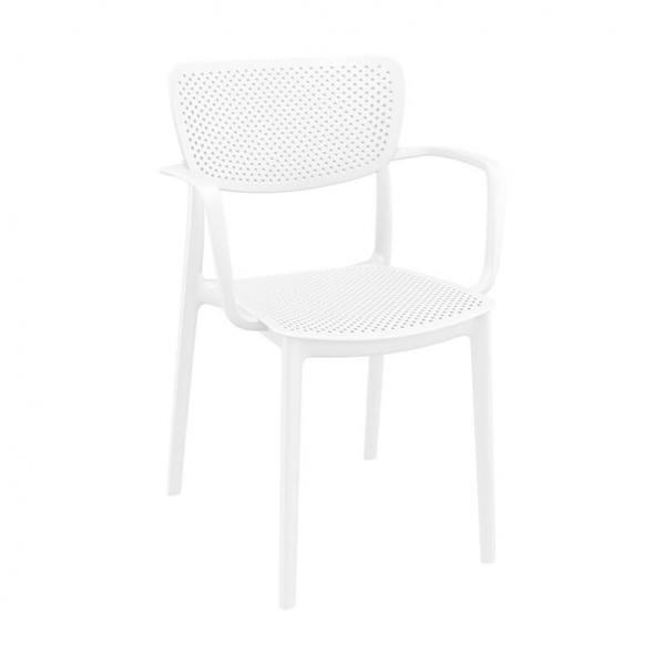 Fauteuil de terrasse blanc en polypropylène micro perforé - Loft - 6
