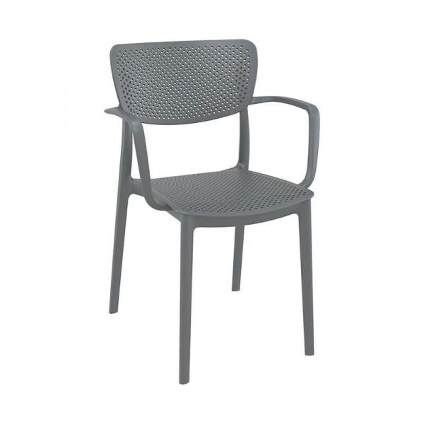Chaise avec accoudoirs de jardin micro perforée grise - Loft - 12