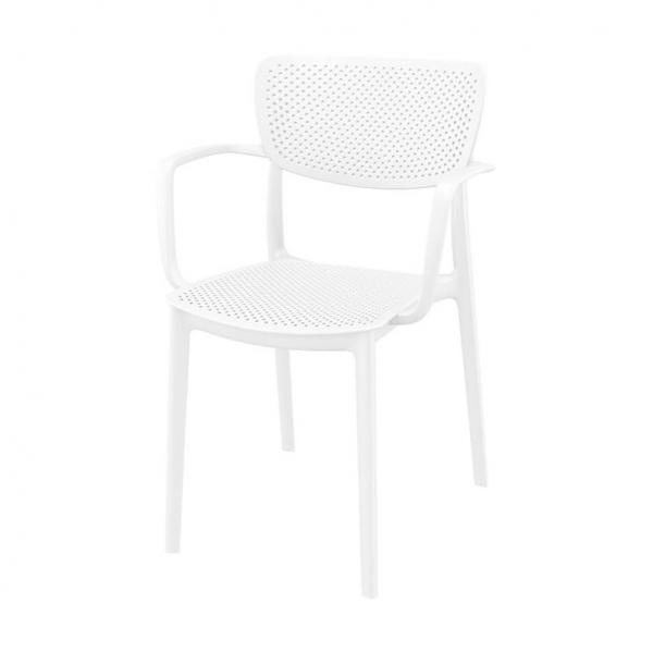 Fauteuil de style moderne en polypropylène micro perforé blanc - Loft - 5