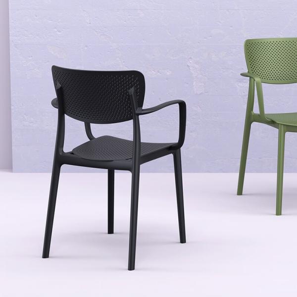 Chaise avec accoudoirs en polypropylène micro perforé noir - Loft - 1