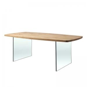 Table design forme tonneau en verre et bois - Carte