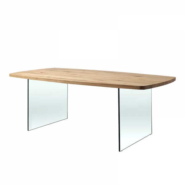 Table design forme tonneau en verre et bois - Carte - 1