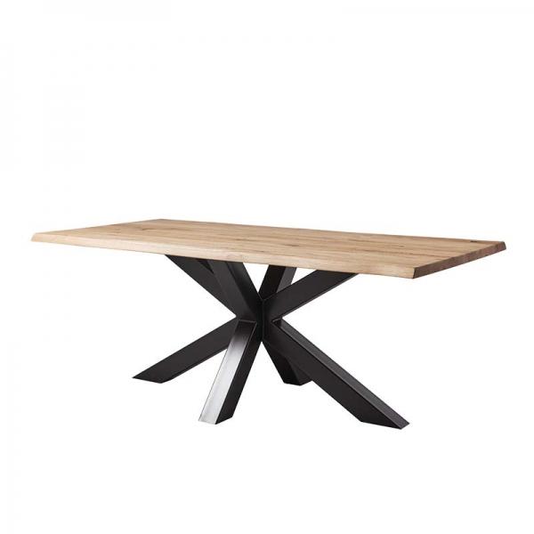 Table industrielle en bois massif et pieds mikado - Carte  - 2