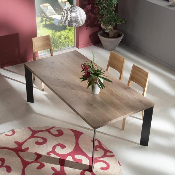 Table à manger moderne bois et métal - 14.04 - 1