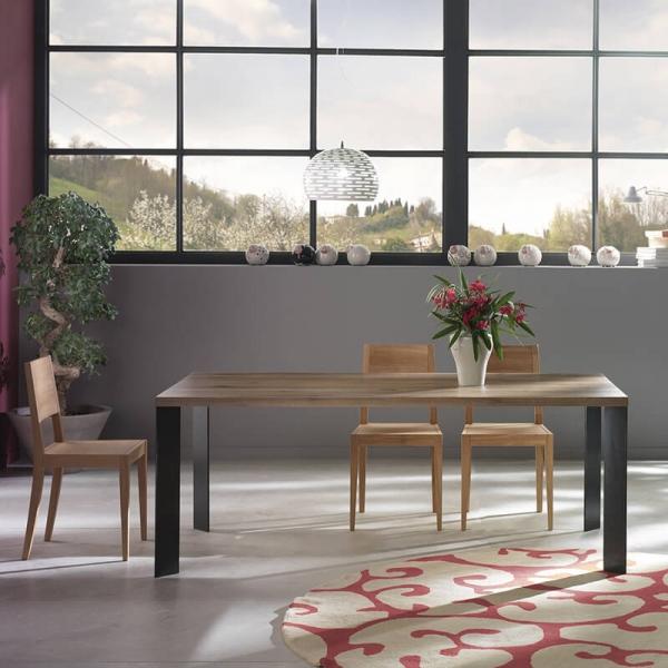 Table salle à manger moderne bois et métal - 14.04 - 2
