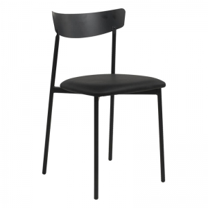 Chaise de cuisine en métal et synthétique noir - Clip