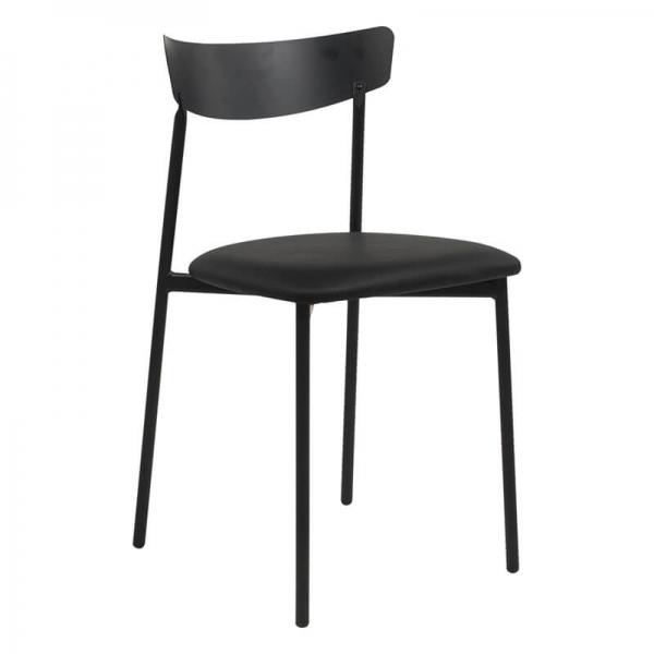 Chaise de cuisine en métal et synthétique noir - Clip - 1