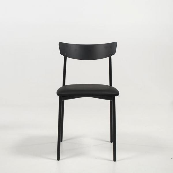 Chaise moderne noire rembourrée pieds métal - Clip - 3