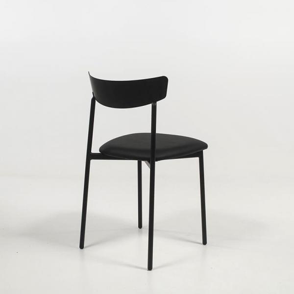 Chaise moderne noire rembourrée pieds métal - Clip - 4