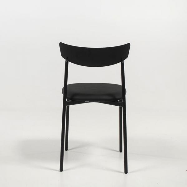 Chaise moderne noire rembourrée pieds métal - Clip - 5
