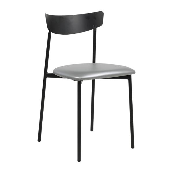 Chaise pieds métal et assise rembourrée grise brillant - Clip - 6